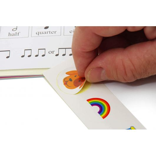 Sheet Music Book with Colored Musical Stickers - 12 songs for Beginners - Play by Picture