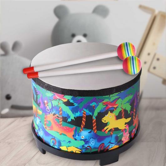 Floor Drum for Children - 8 inch - Plastic Head - 2 Mallets - Blue