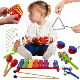 Musical Instrument Set for Kids in a Bag with Xylophone and 14 Page Card Set - Percussion Set for Children