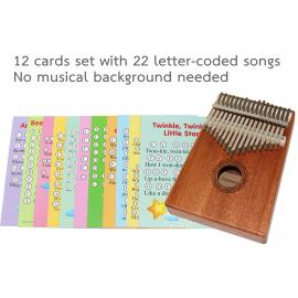 17-Key Kalimba Thumb Piano, Note stickers 12 sheet music cards with 22 songs