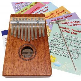 Wooden Kalimba 10 Notes 12-sheet music cards with 22 songs