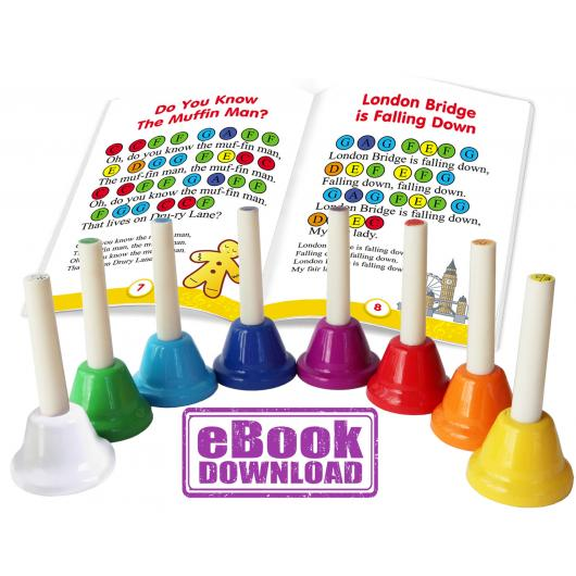 Mini Hand Bell Set 8 Notes, 23 Songs