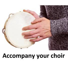 Tambourine 8 inches Hand Held Tambourine - Skin Head Drum with Metal Jingles