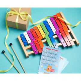 Tuned Glockenspiel with Colorful Metal Keys, Sheet Music Cards