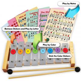 Glockenspiel 8 Note - Xylophone 8 Keys, Color Stickers, 23 Color-Coded Cards