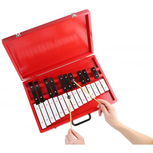 Glockenspiel 25-Note Chromatic Xylophone in Red Wooden Case with Handle