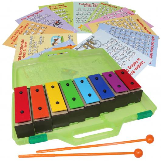 8 Note Bell Kit Set in a Case with Sheet Music Cards