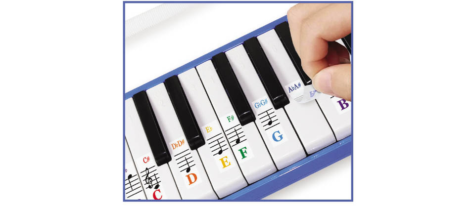 melodica air piano note stickers
